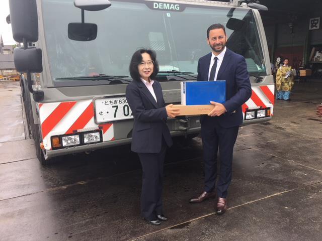 Megumi Aoki (President, Aoki Juki) and Steve Filipov (President, Terex Cranes)