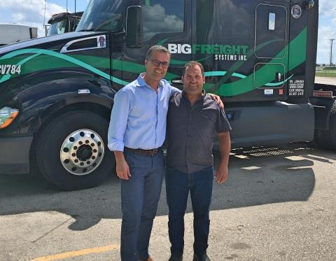 Left to right: Gary Coleman, president of Big Freight Systems, and Jim Clunie, president of Kelsey Trail Trucking.