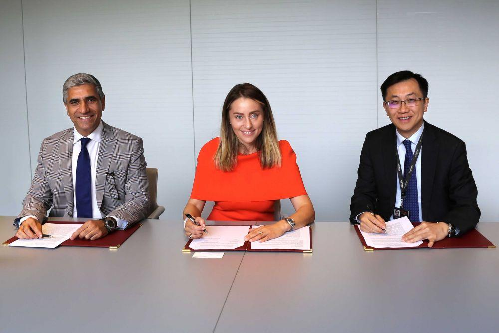 (From left) Siddique Khan, CEO of Globalink, Ketevan Bochorishvili, CEO of Anaklia City JSC, and Ellis Cheng, Chief Financial Officer of Kerry Logistics, at the strategic cooperation MOU signing ceremony