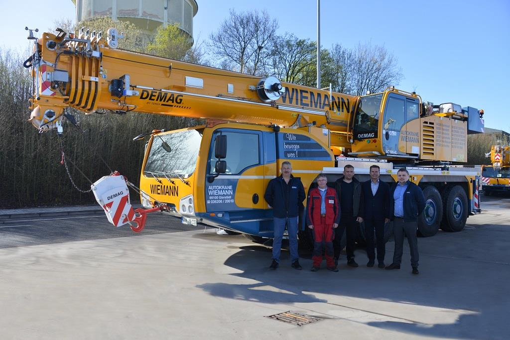 Left to right: Helge Prüfer (sales manager, Terex Cranes), Georg Ruhe (crane operator, Wiemann), Mario Bley (technical field service, Wiemann), Martin Wiemann (general manager, Wiemann) and Christian Kassner (senior manager sales, Terex Cranes)