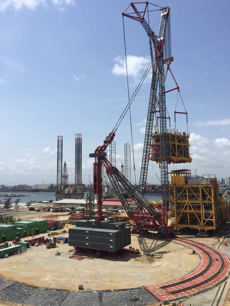 Earlier this year, ALE fitted its AL.SK350 crane with a 38 m-long modular jib to lift a floating production storage and offloading (FPSO) module, weighing 1,276 tonnes, in Lagos.