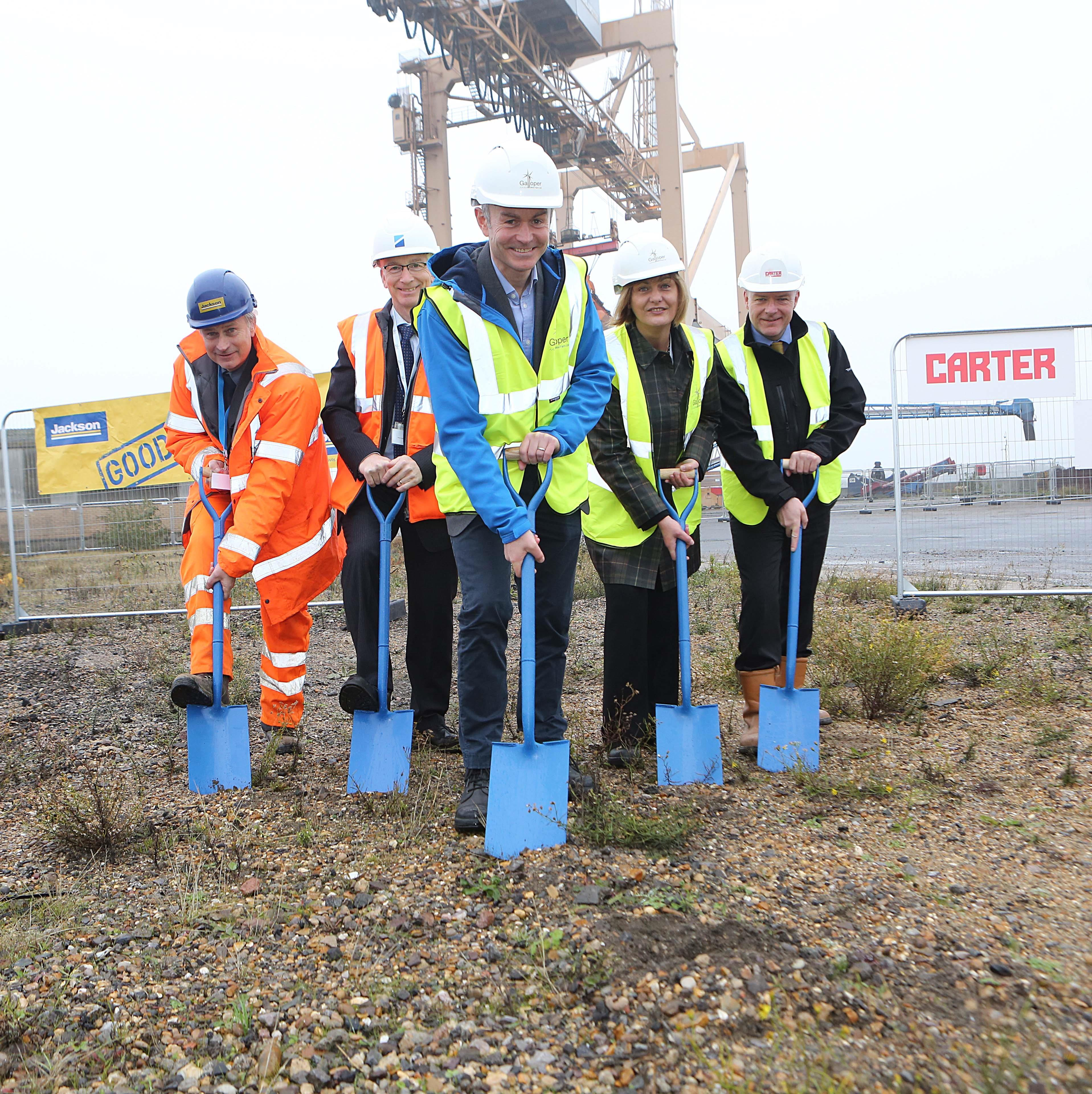 Harwich International general manager, Daren Taylor (second left), with representatives from Galloper at the O&M facility's ground-breaking ceremony.