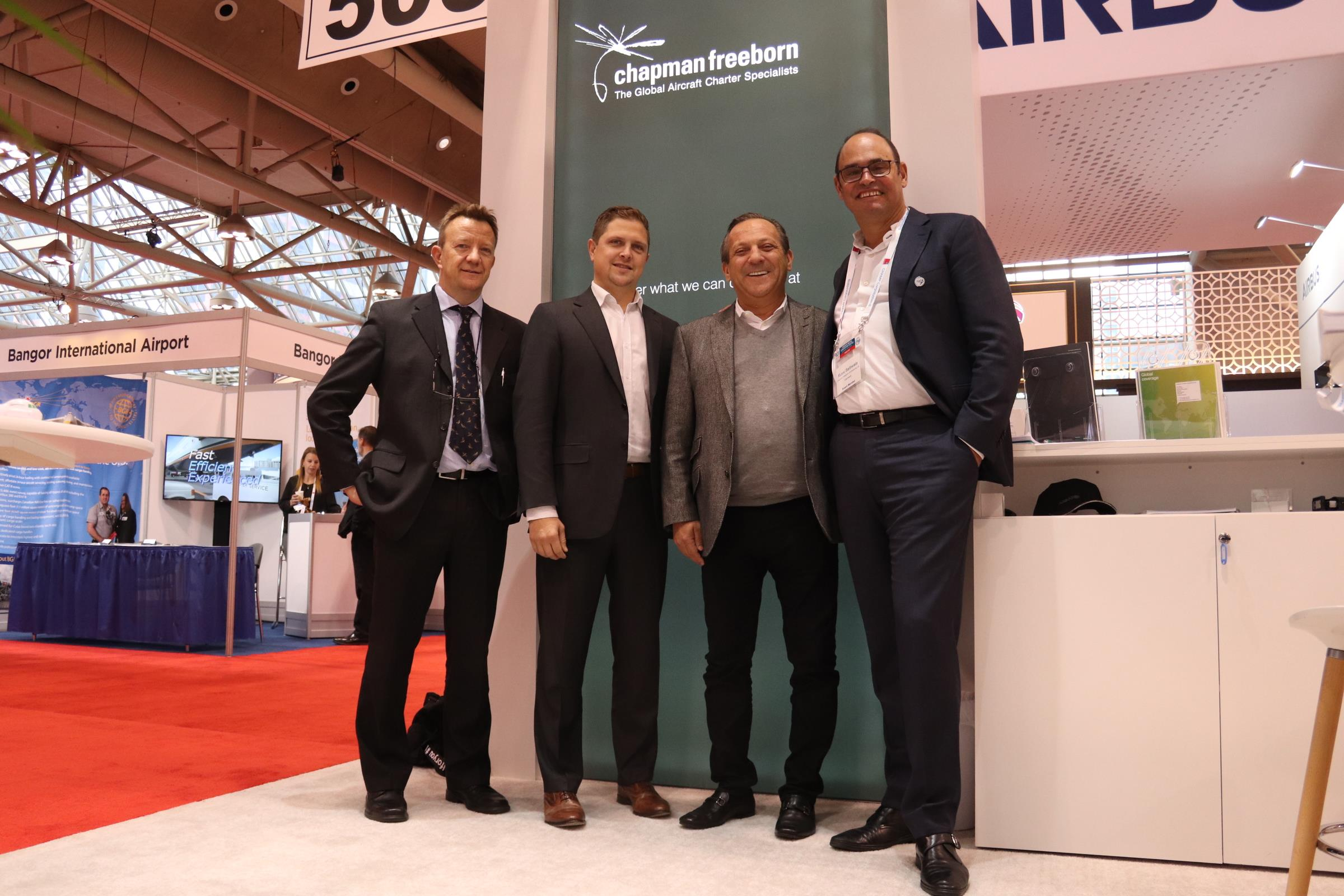 From left to right: Pierre van der Stichele, cargo operations director at Chapman Freeborn; Brian Potvin, chief operating officer at GTA; Mario D'Urso, GTA ceo; and Russi Batliwala, ceo of Chapman Freeborn.