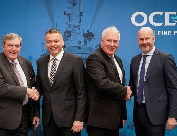 Left to right: Jean Wilhelmy, Senior Vice-President, Private Equity, at le Fonds – Jacques Tanguay, President and Chief Operating Officer of Ocean Group – Gordon Bain, Founder and Chairman of the Board of Directors of Ocean Group – Stéphane Léveillé, Vice-Président, Mid-Market Companies, Québec at la Caisse.