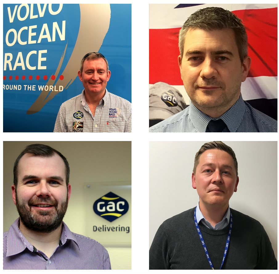 Top (left to right): Jeremy Troughton, general manager - marine leisure and events, GAC UK and Wynne Raymond, general manager - shipping.  Bottom (left to right): Adrian Henry, general manager - oil, gas and renewables and Mark Horton, general manager - freight services.