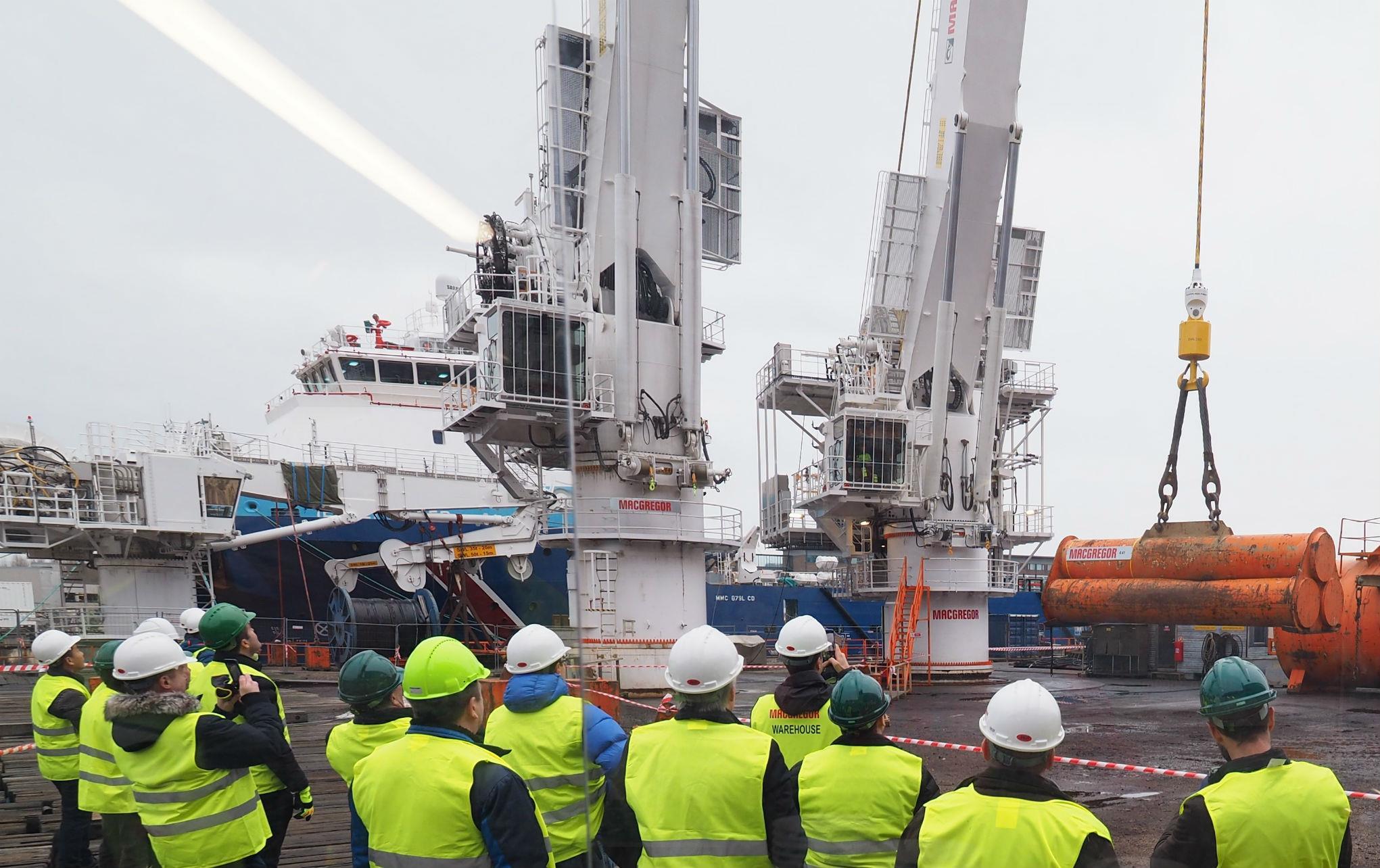 A FibreTrac crane at a recent customer demonstration inKristiansand, Norway. Photo credit: MacGregor.