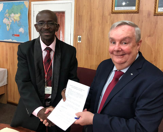 GAC group vice president – Americas, Bob Bandos (right) with Guyana National Shipping Corporation (GNSC) managing director Andrew Astood. Photo credit: GAC Group.