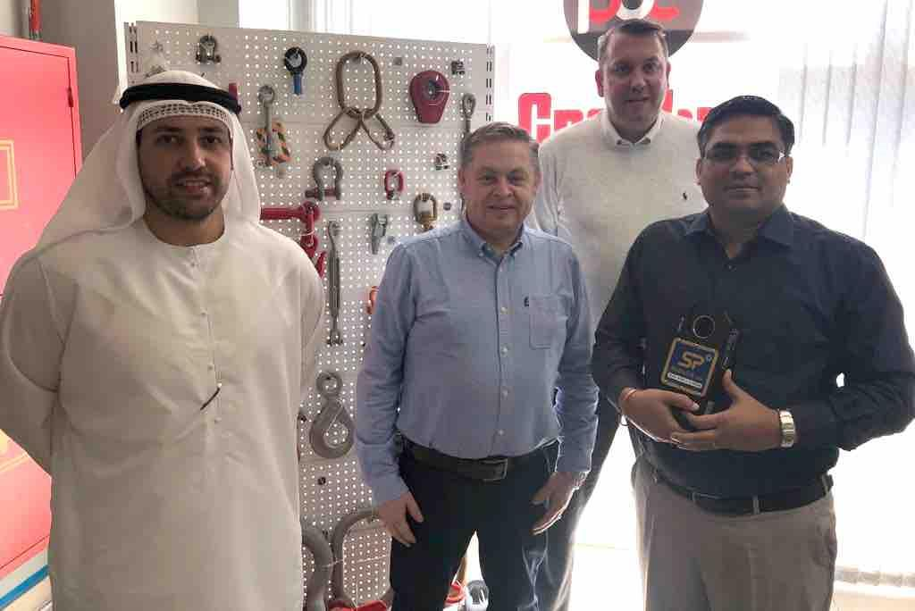Pictured (left to right): Mohammed K. Bin Dasmal, managing director at Bin Dasmal Group; David Ayling, global business development director for load monitoring solutions at SP; Marcel Tabuteau, area sales manager at Crosby; and Saravanan T., regional manager at Dutest UAE.