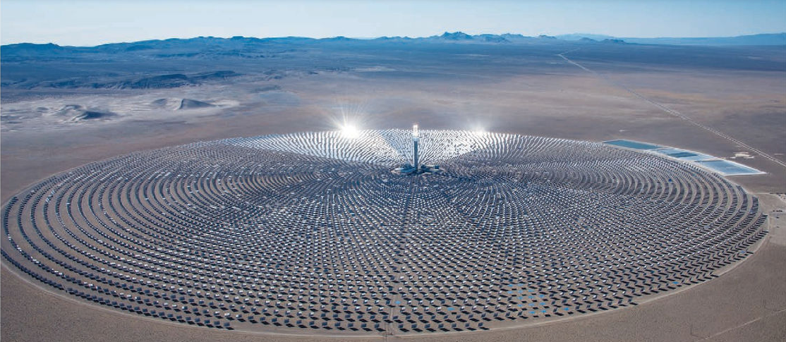 SolarReserve's 110 MW Cresent Dunnes solar energy park in Nevada, USA.