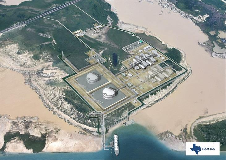 A rendering of the Texas LNG project.