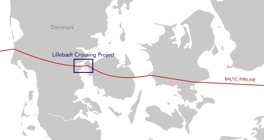 Boskalis will install a 4 km section of pipeline between Jutland and Funen.