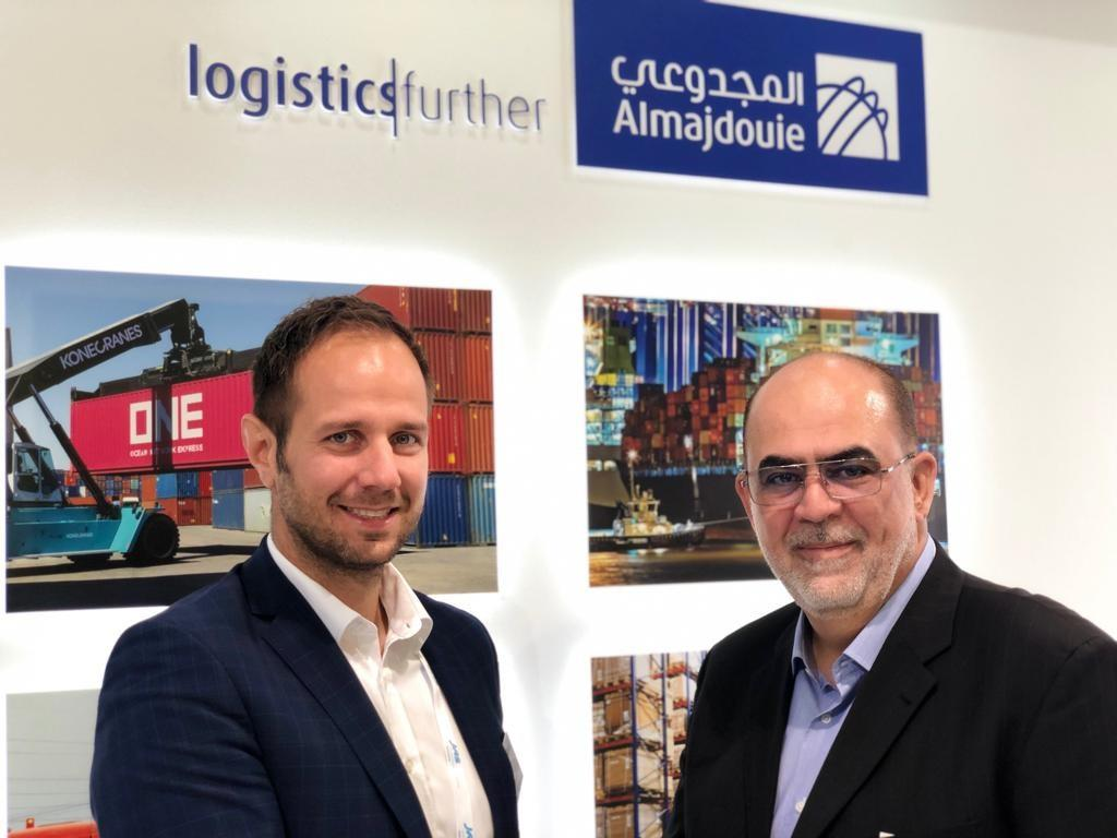 Goldhofer's head of transport technology Rainer Auerbacher and Almajdouie Logistics heavy lift general manager Eyad Arafah signed a purchase agreement at the Breakbulk Europe exhibition in Bremen.