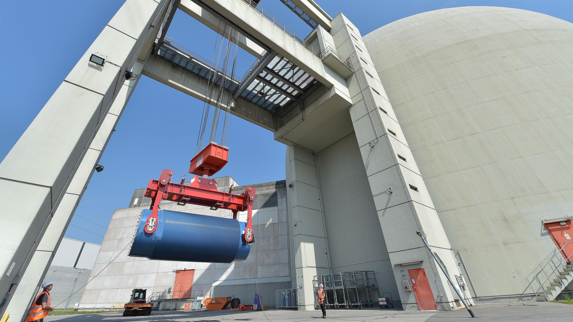 Decommissioning activities at RWE's nuclear power plant in Biblis, Germany.