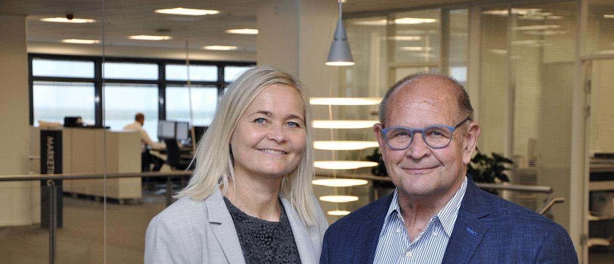 Anne and Kurt Skov at Blue Water Shipping's headquarters in Esbjerg, Denmark.