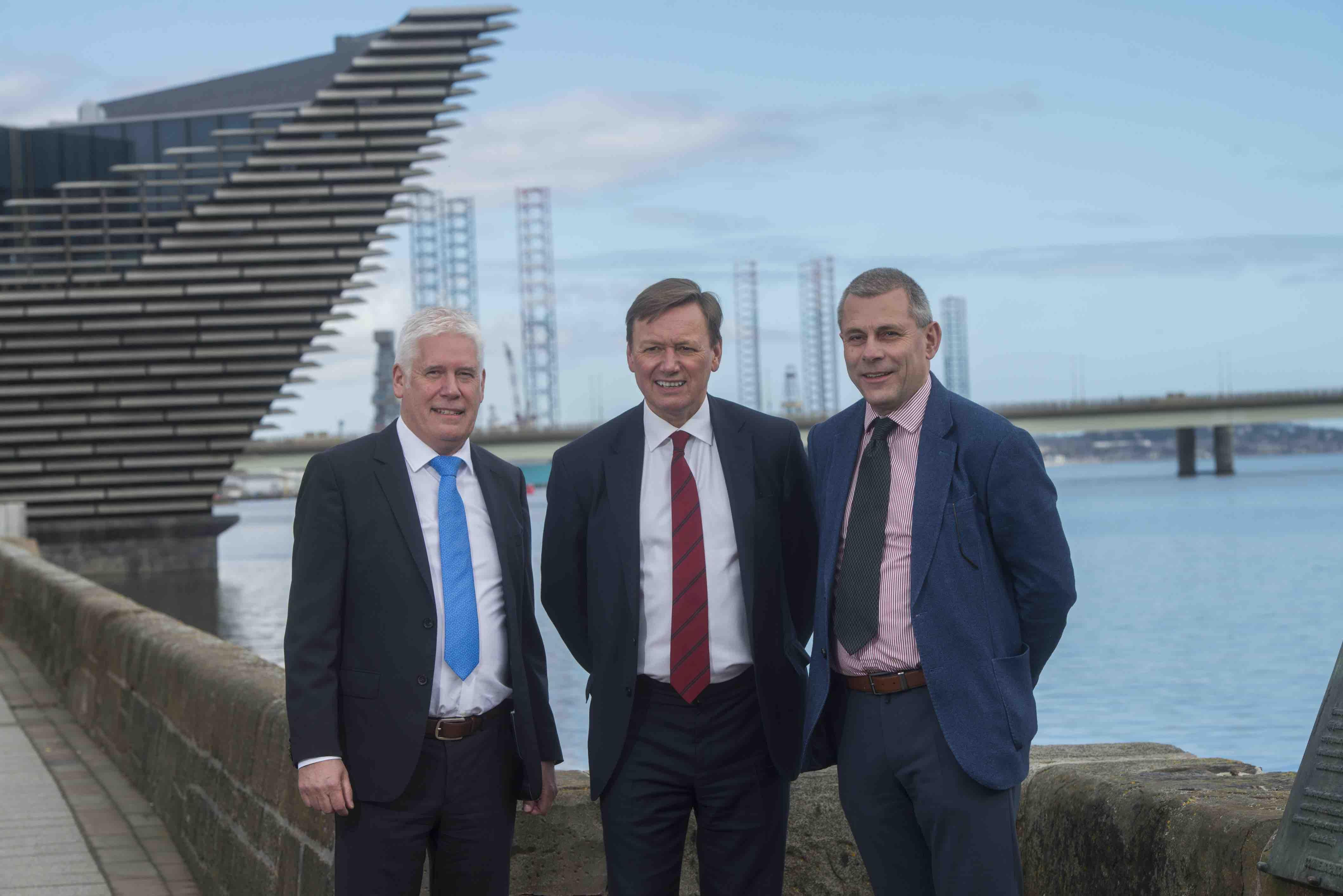 From left to right:  Callum Falconer, ceo of Dundeecom; Charles Hammond, group ceo of Forth Ports; Bill Cattanach, head of supply chain at Oil and Gas Authority.
