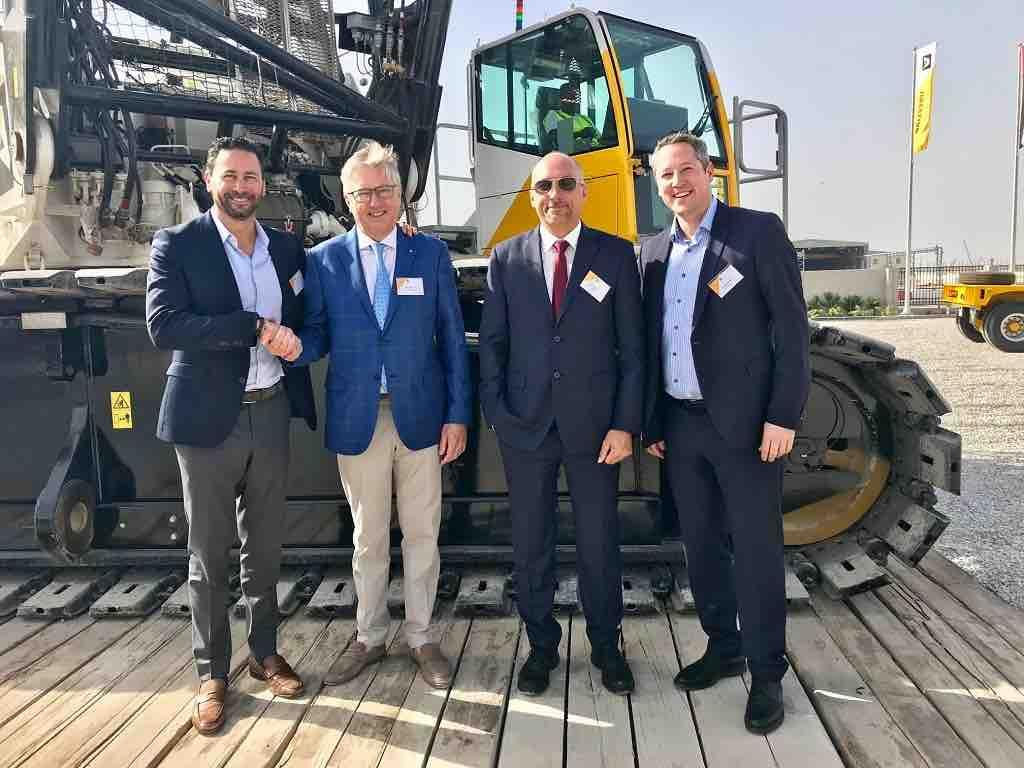 From left to right: Steve Filipov (president, Terex Cranes), Greg Aertssen (ceo, Aertssen Group), Tony Nuyts (branch manager, Aertssen Machinery Services) and Joerg Mueller (senior sales manager, Terex Cranes)
