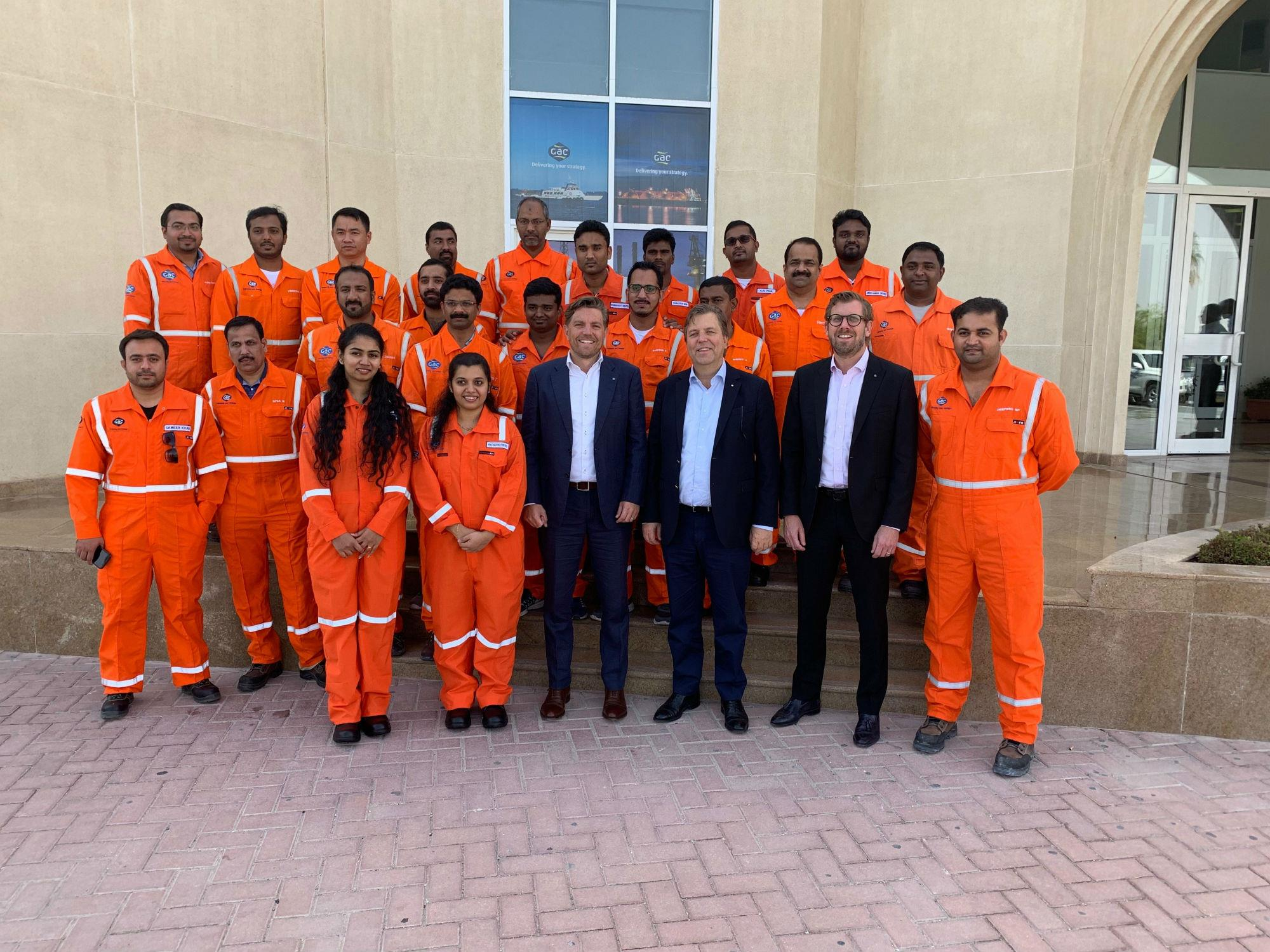 GAC Qatar general manager Daniel Nordberg, GAC Group president Bengt Ekstrand and GAC Group vice president for the Middle East Fredrik Nyström with the Ras Laffan team.