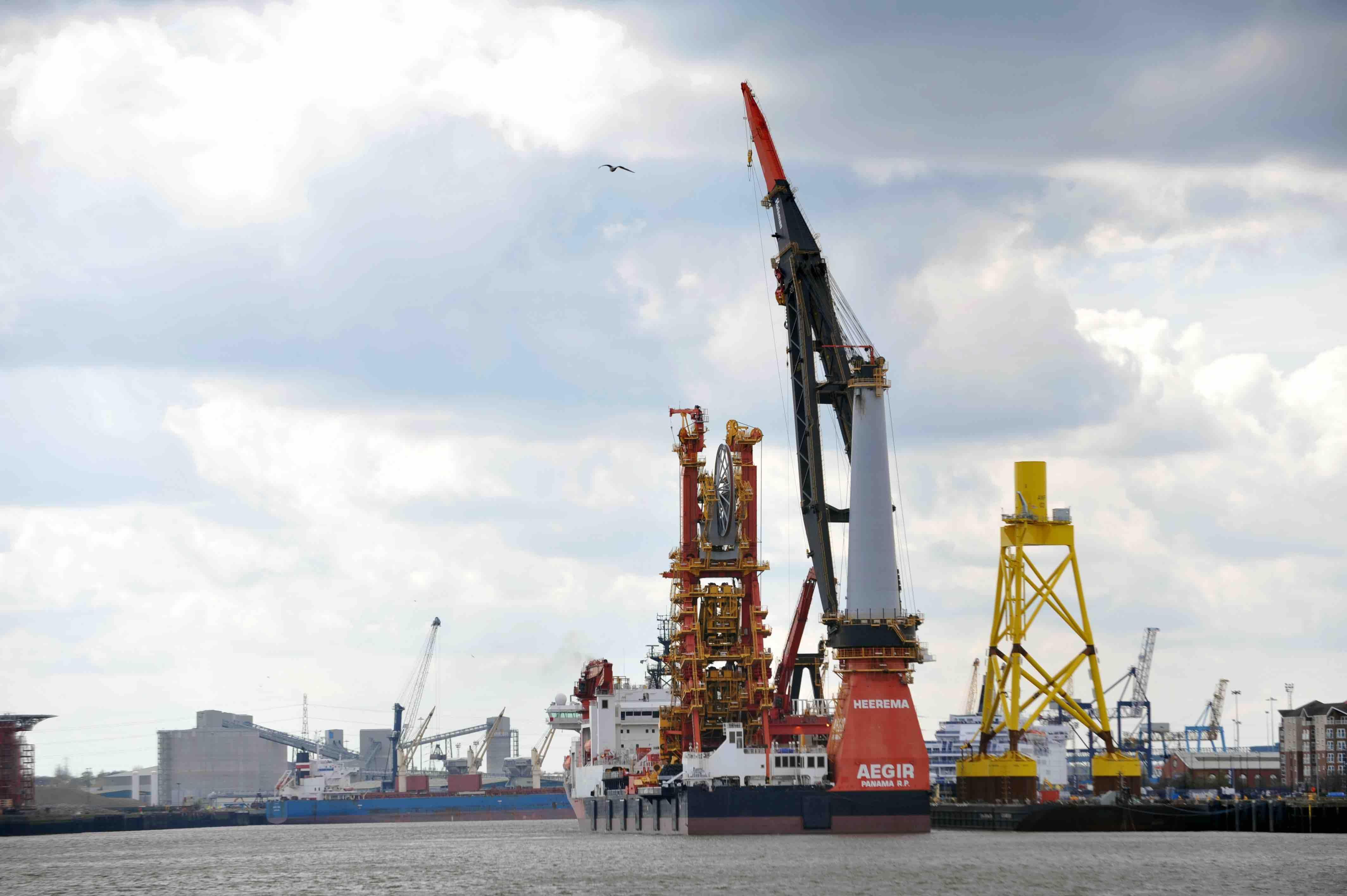 Heerema's offshore deepwater construction vessel Aegir at the port of Tyne.