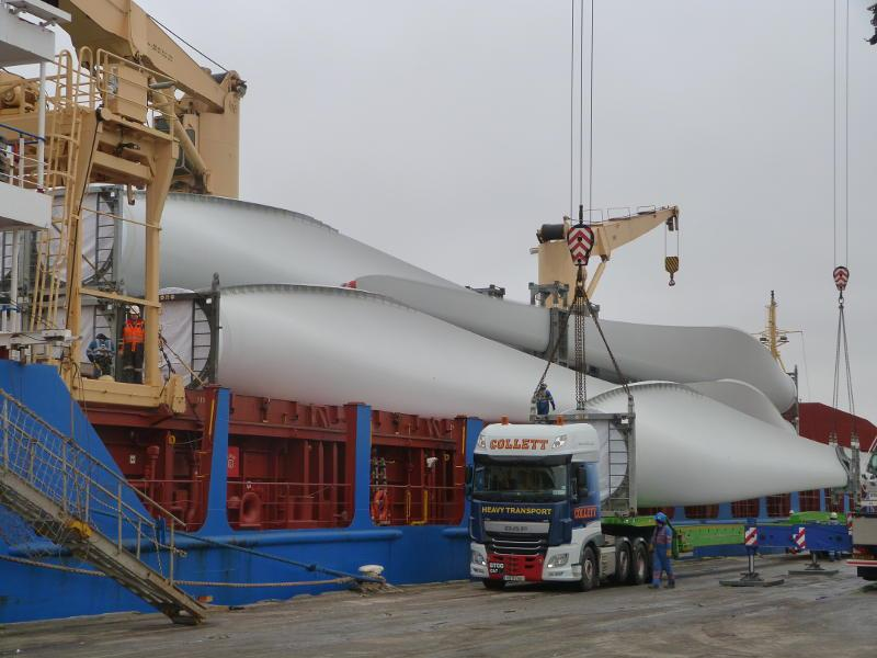 Wind turbines being unloaded at Quality Freight UK's Ellesmere Port facility.