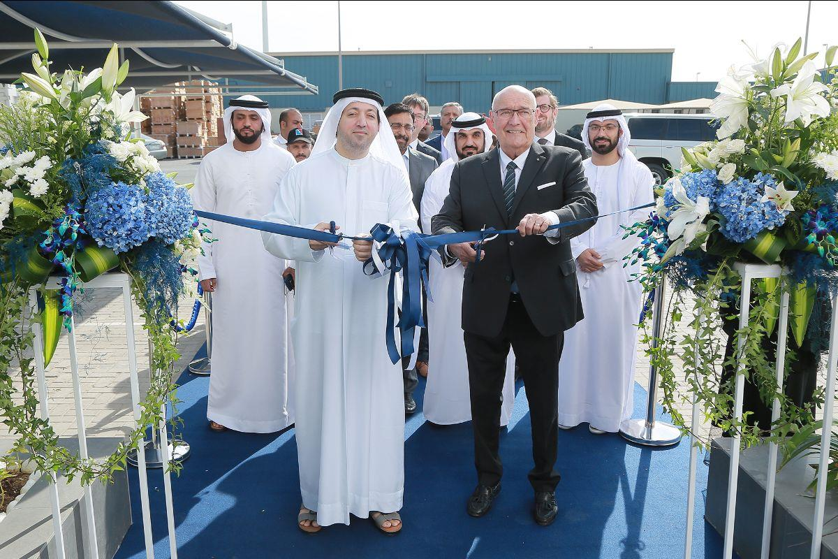 Saud Salim Al Mazrouei, director of Hamriyah Free Zone Authority, and Björn Engblom, GAC Group's executive chairman at the office inauguration ceremony.