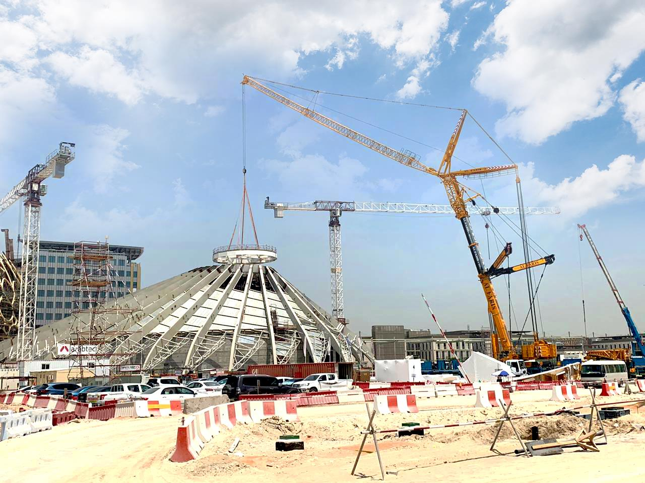 Last year Al Faris was awarded a project at the site for Expo 2020 to lift and install 42 structural steel elements of the falcon- inspired UAE pavilion structure.